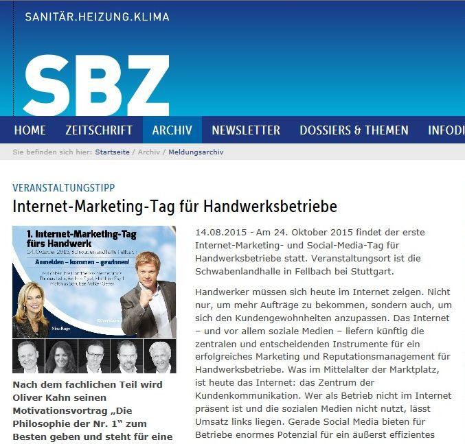 SBZ Magazin für Heizung, Sanitär, Klima